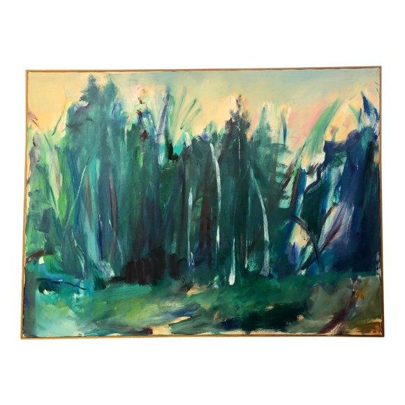 """Vintage Other - """"Forrest"""" 1970s Original Abstract Landscape"""